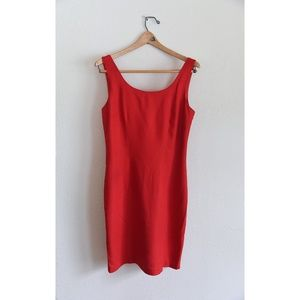 Classic Vintage Chemise Red Midi Tank Dress